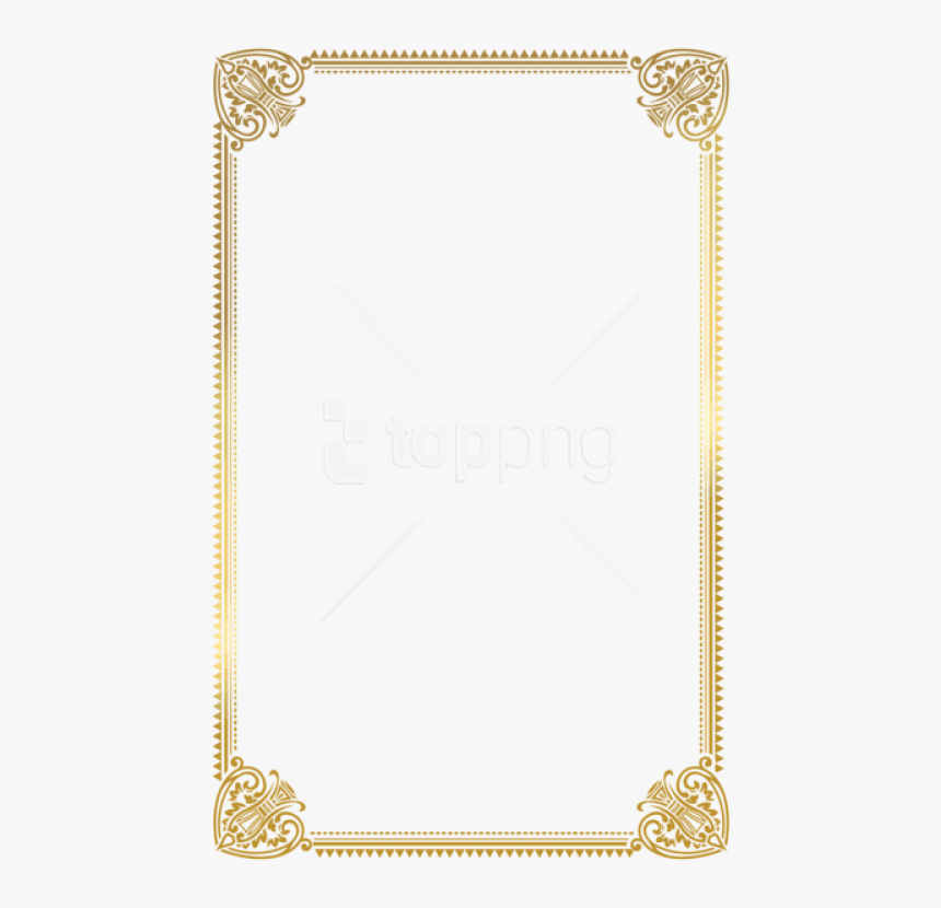 Free Png Download Border Frame Gold Deco Clipart Png - Certificate Frame A4 Size, Transparent Png, Free Download