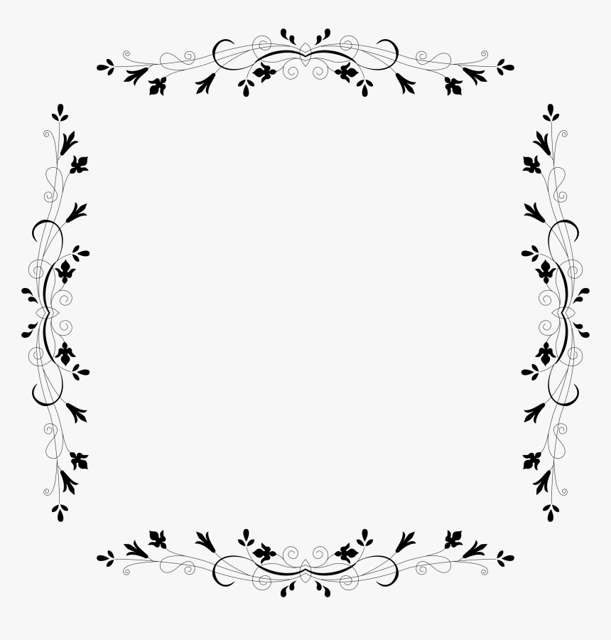 Cyberscooty Floral Border Extended 16 Clip Arts - Border Design Clipart Black And White, HD Png Download, Free Download