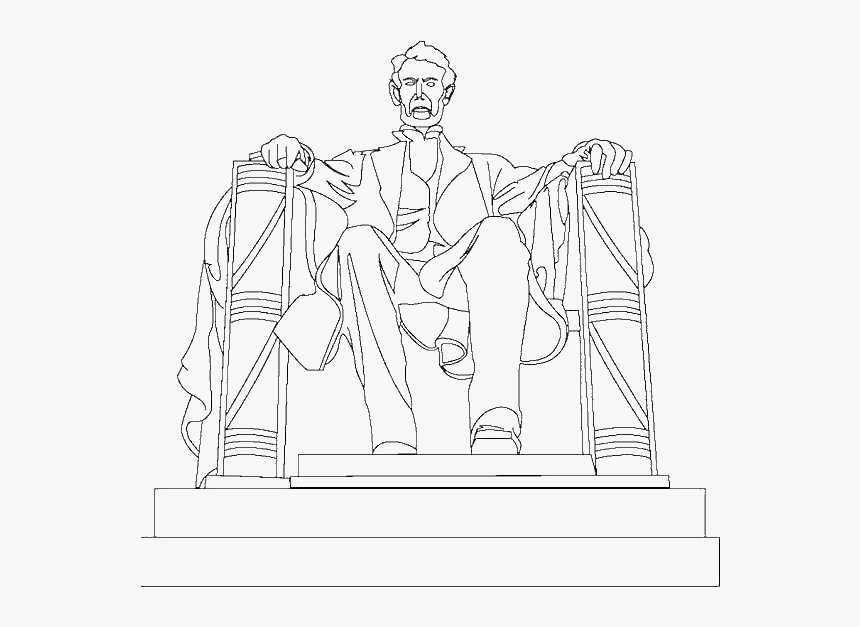 A Drawing Of Abraham Lincoln Memorial Coloring Page, HD Png ...