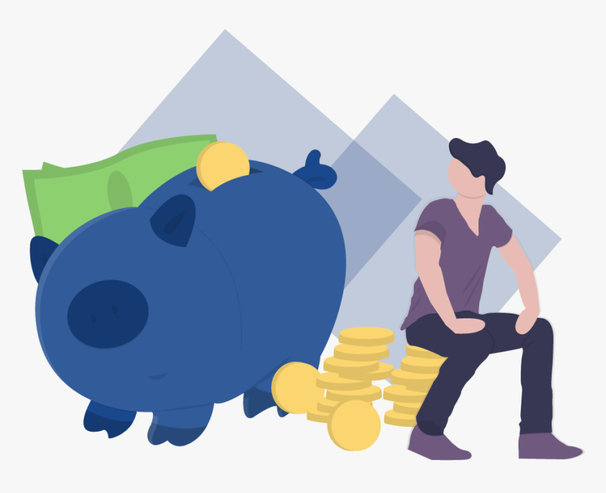 Man Sitting Down And Staring At A Piggy Bank With Money - Making Money Is Learning Vector, HD Png Download, Free Download