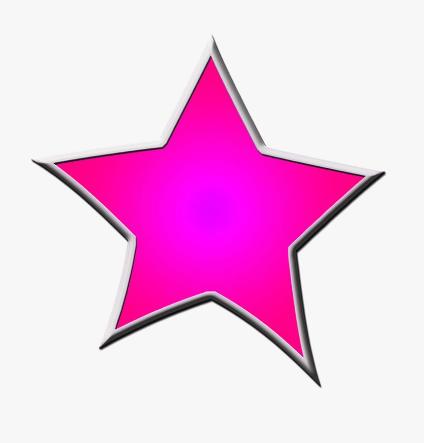 Pink Framed Star Drawing - Clipart Blue Star, HD Png Download, Free Download