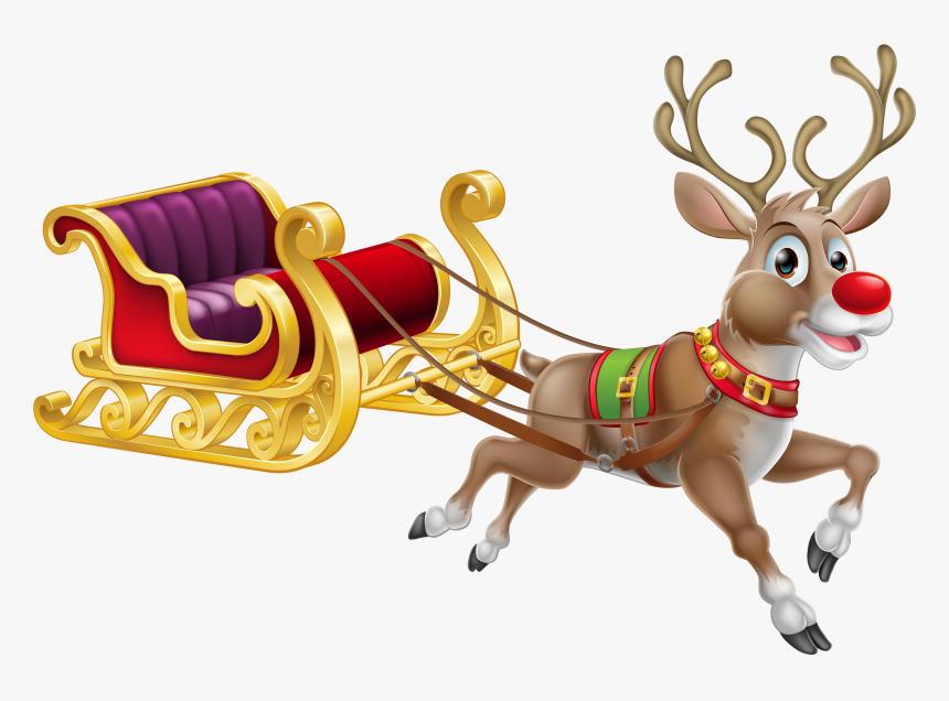 Transparent Sledding Png - Santa Claus Reindeer Rudolph, Png Download, Free Download