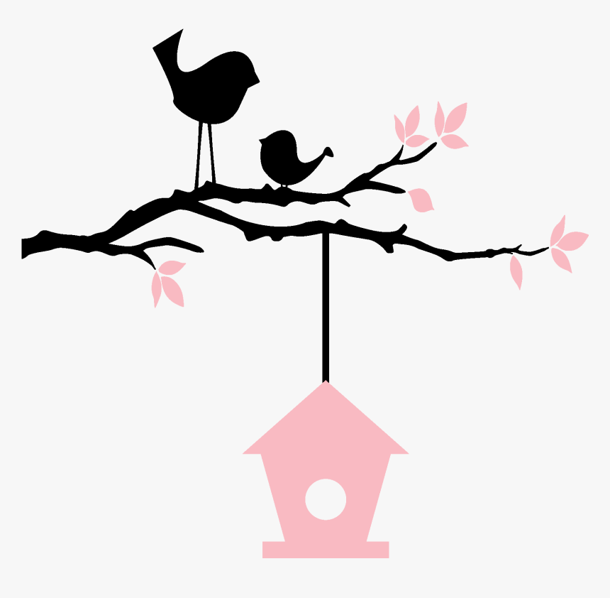 Birds On Branch With Birdhouse - Birds With Birdhouse Silhouette, HD Png Download, Free Download