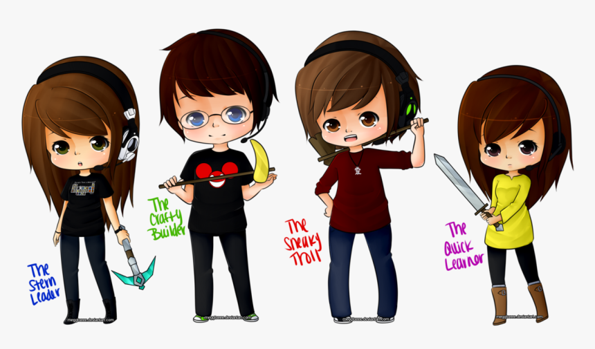 Gamer Girl Minecraft Skin - Minecraft Drawing Of Players, HD Png Download, Free Download