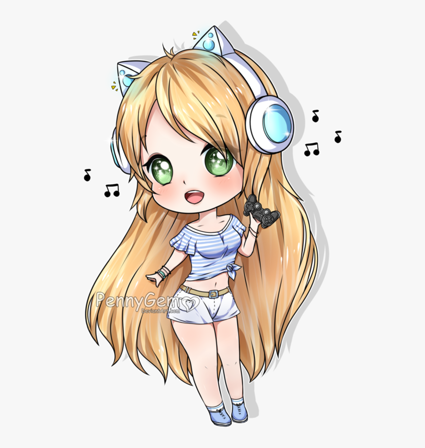 Go To Image - Anime Gamer Girl Chibi, HD Png Download, Free Download