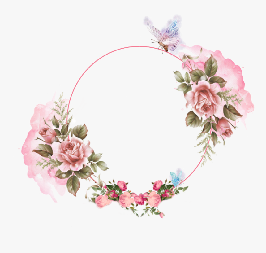 #garland #pink #watercolor #romantic #flower #butterfly - Artificial Flower, HD Png Download, Free Download
