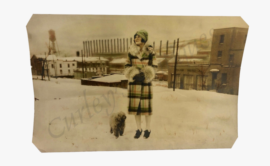 Vintage 1927 Fashion Flapper Beauty Woman Dog Steel - Painting, HD Png Download, Free Download