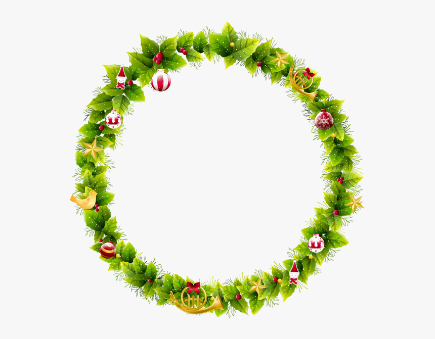 Christmas Wreath Frame Clipart, HD Png Download, Free Download