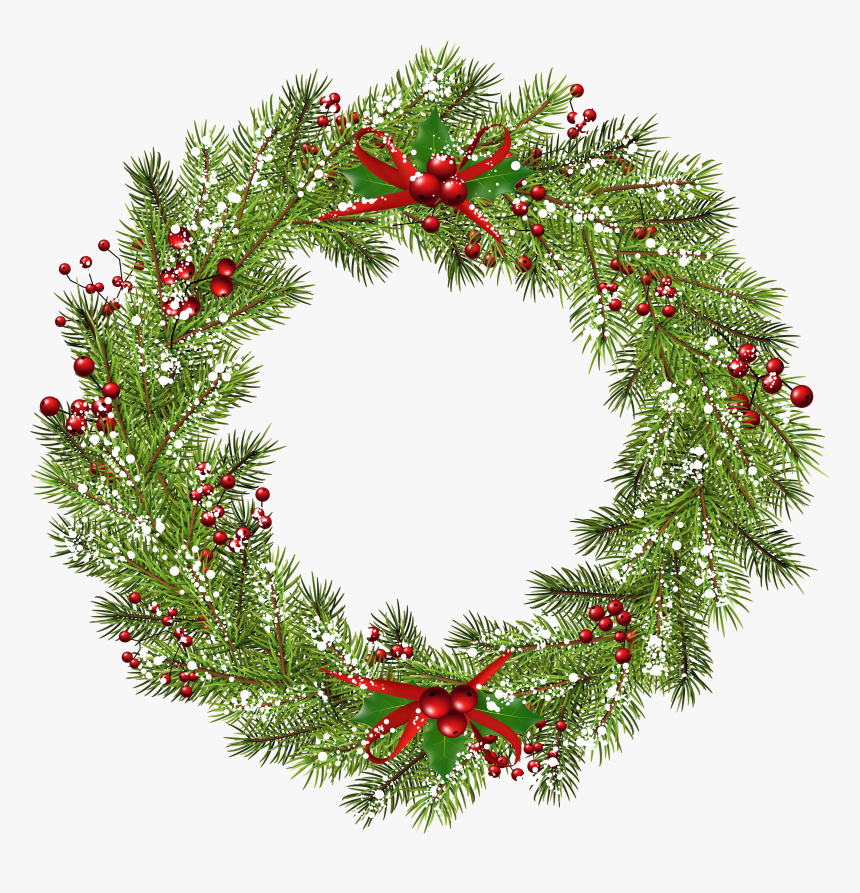 Wreath Christmas Clip Art - Christmas Wreath Png Free, Transparent Png, Free Download