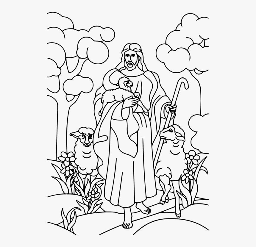 Art,human,monochrome - Jesus Sheep Coloring Page, HD Png ...