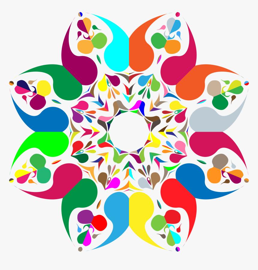 Flower,symmetry,area - Floral Png Design Colorful, Transparent Png, Free Download