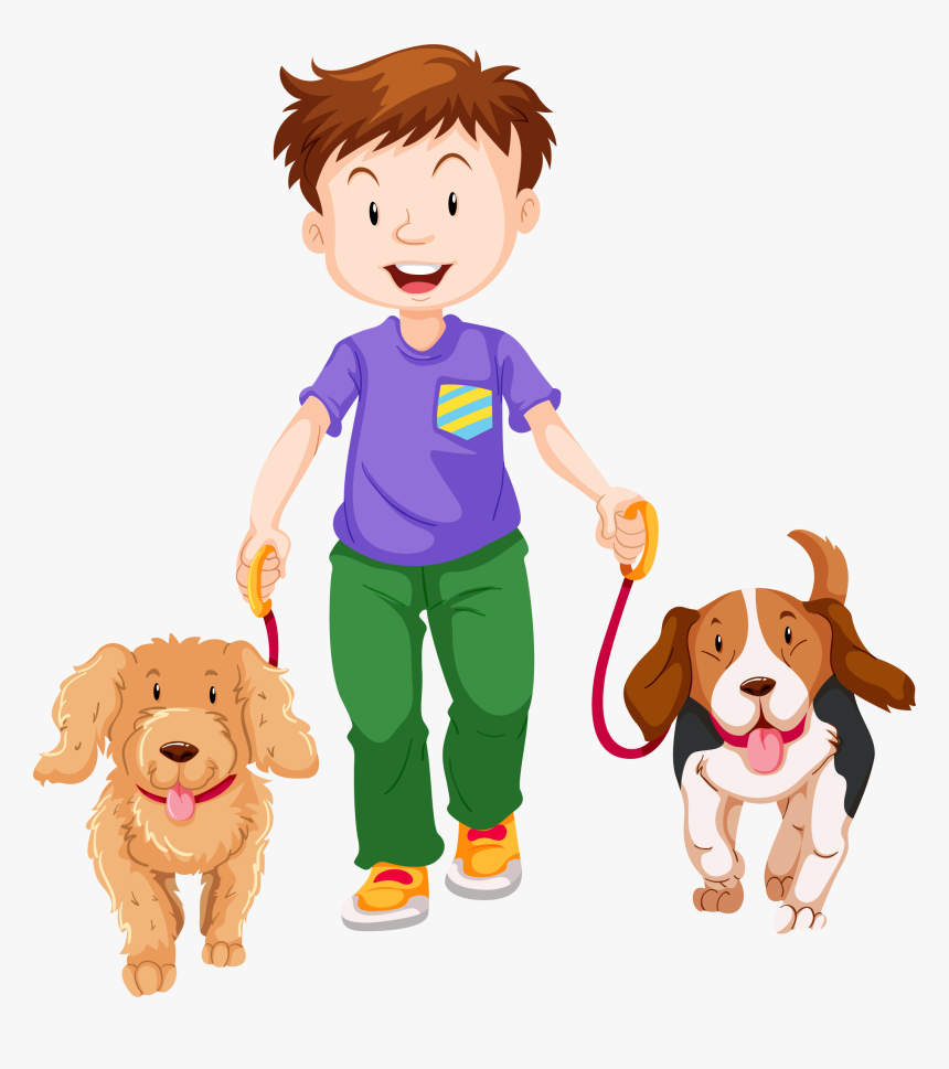 Pet Walking Dog Boy, Cartoon Free Download Image Clipart - Cartoon Boy With 2 Dogs, HD Png Download, Free Download