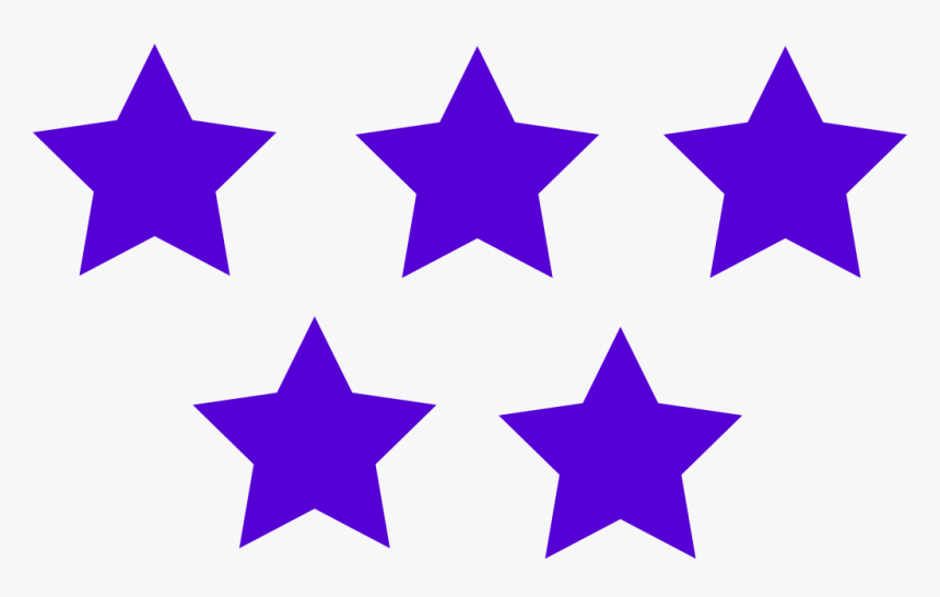 Purple Color 5 Stars Image - 5 Star Rating Icon, HD Png Download, Free Download
