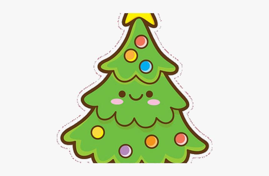 Ornament Christmas Clipart Kawaii Easy Cute Tree Transparent - Draw Kawaii Christmas Tree, HD Png Download, Free Download
