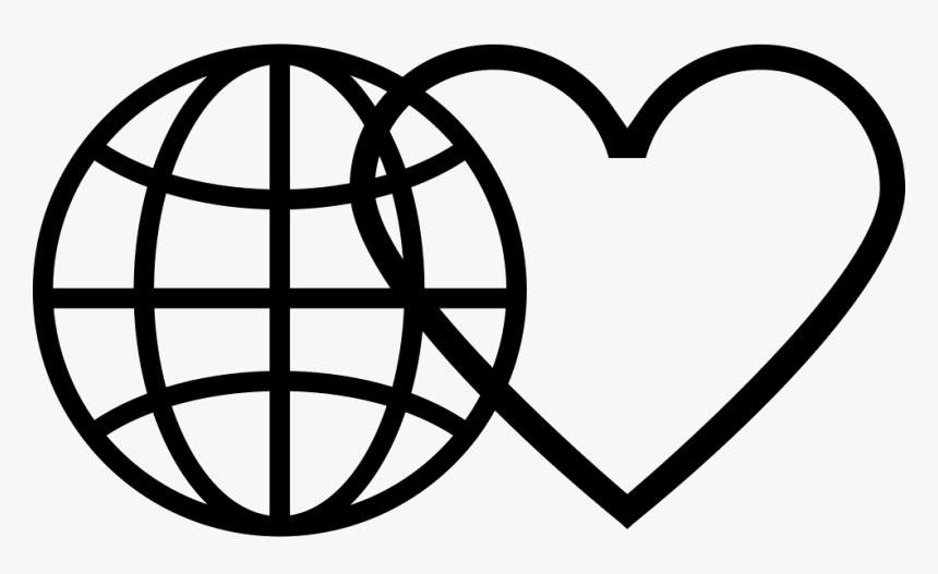 Earth Grid With Heart Outline - Aeroplane Flying Around The World Png, Transparent Png, Free Download