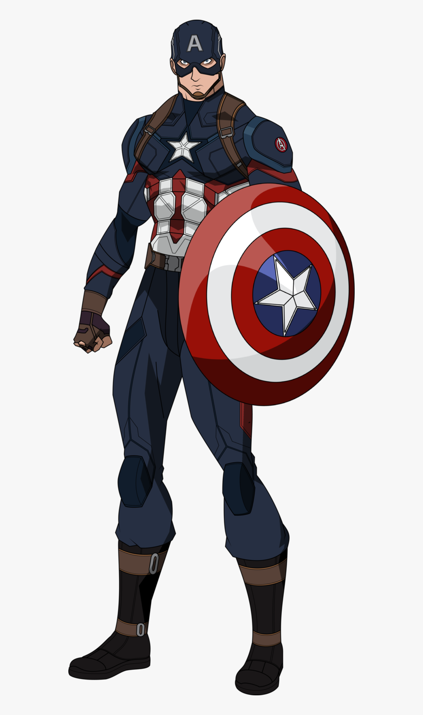 Captain Marvel Clipart Draw In Color - Cartoon Captain America Drawing, HD Png Download, Free Download