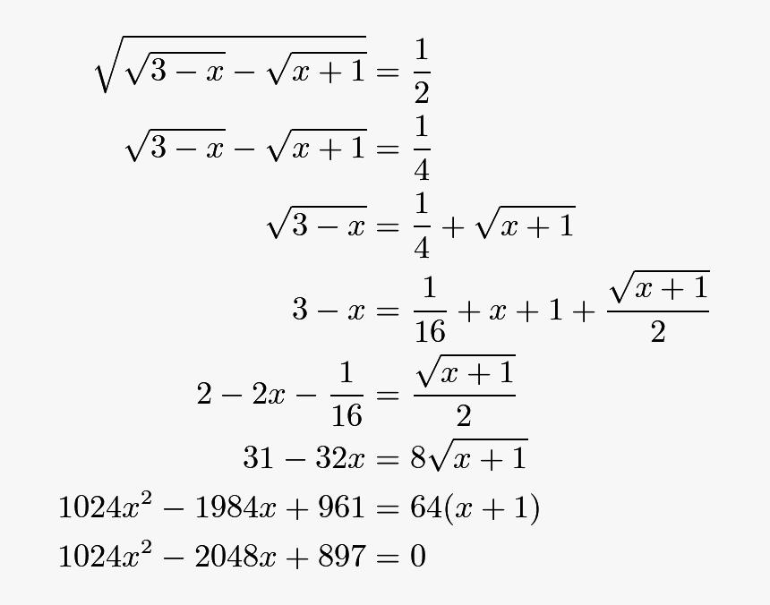 Egin{align*} Sqrt{sqrt{3 X} Sqrt{x 1}} &= Dfrac{1}{2} - X 1 2 Square Root, HD Png Download, Free Download