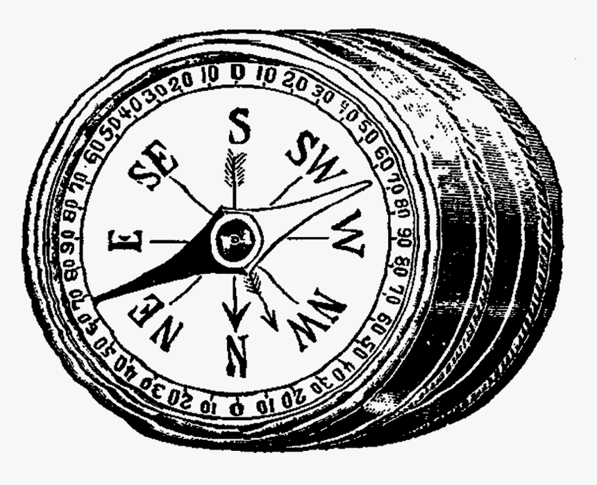 Black And White Vintage Compass Clipart, HD Png Download, Free Download