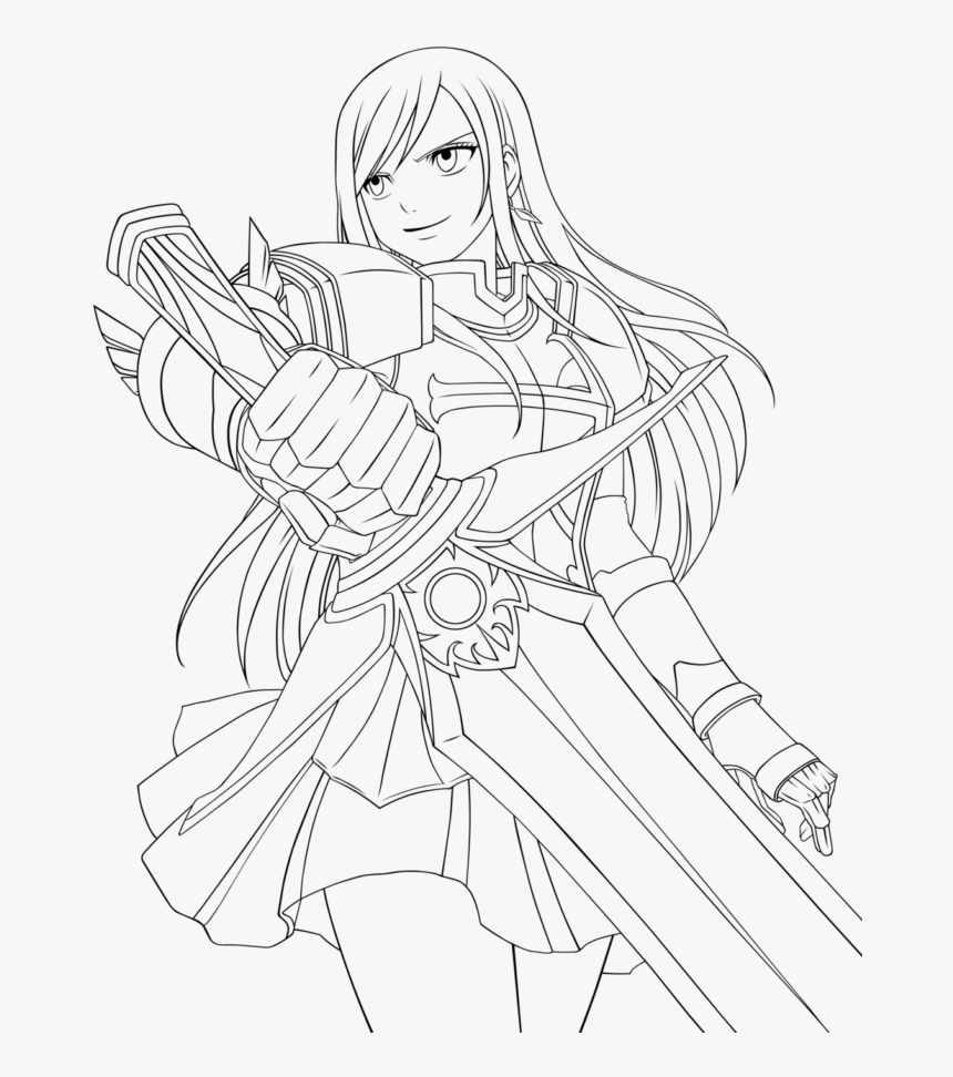 fairytail coloring pages  erza fairy tail drawings hd
