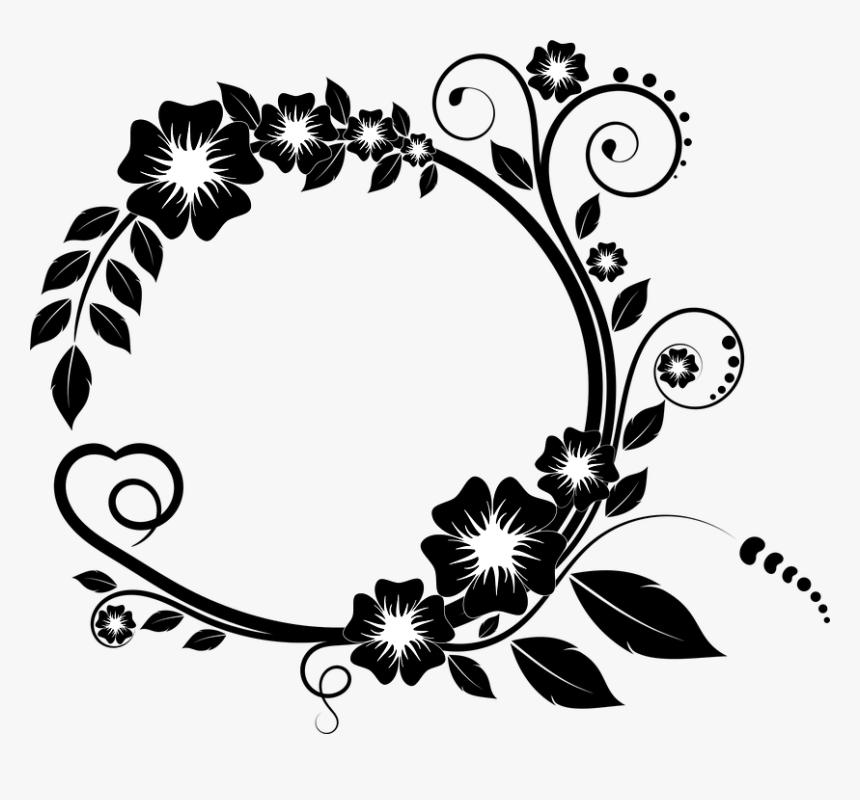 Ornament, Frame, Flower, Elegant, Decoration, Petal - Flower Border Design Black And White, HD Png Download, Free Download