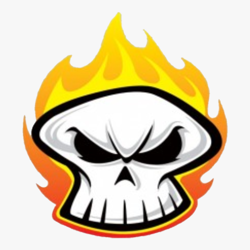 Transparent Flaming Skull Clipart - Cartoon Skull On Fire, HD Png Download, Free Download