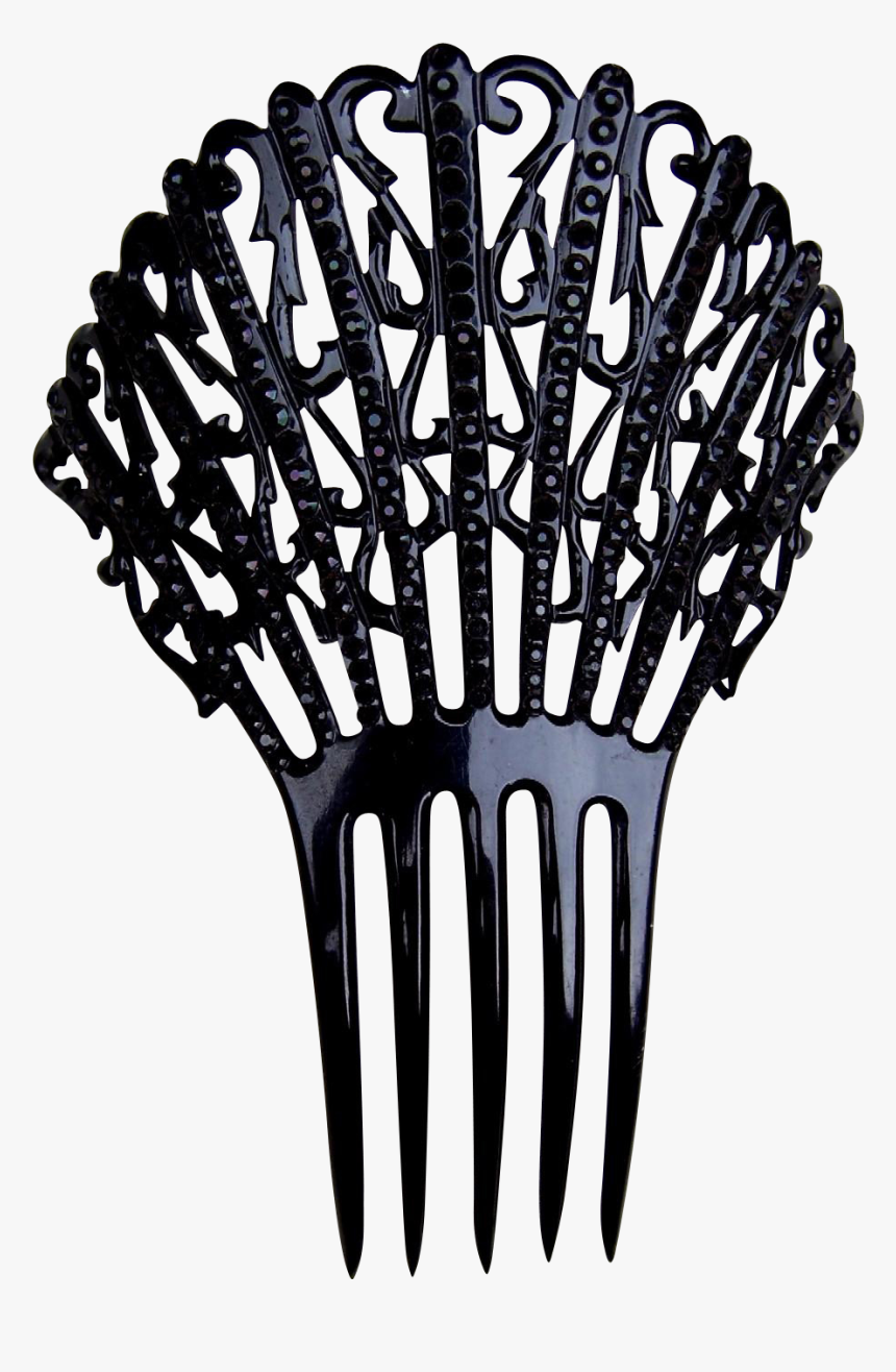 Victorian Mourning Hair Comb Black Celluloid French - Illustration, HD Png Download, Free Download