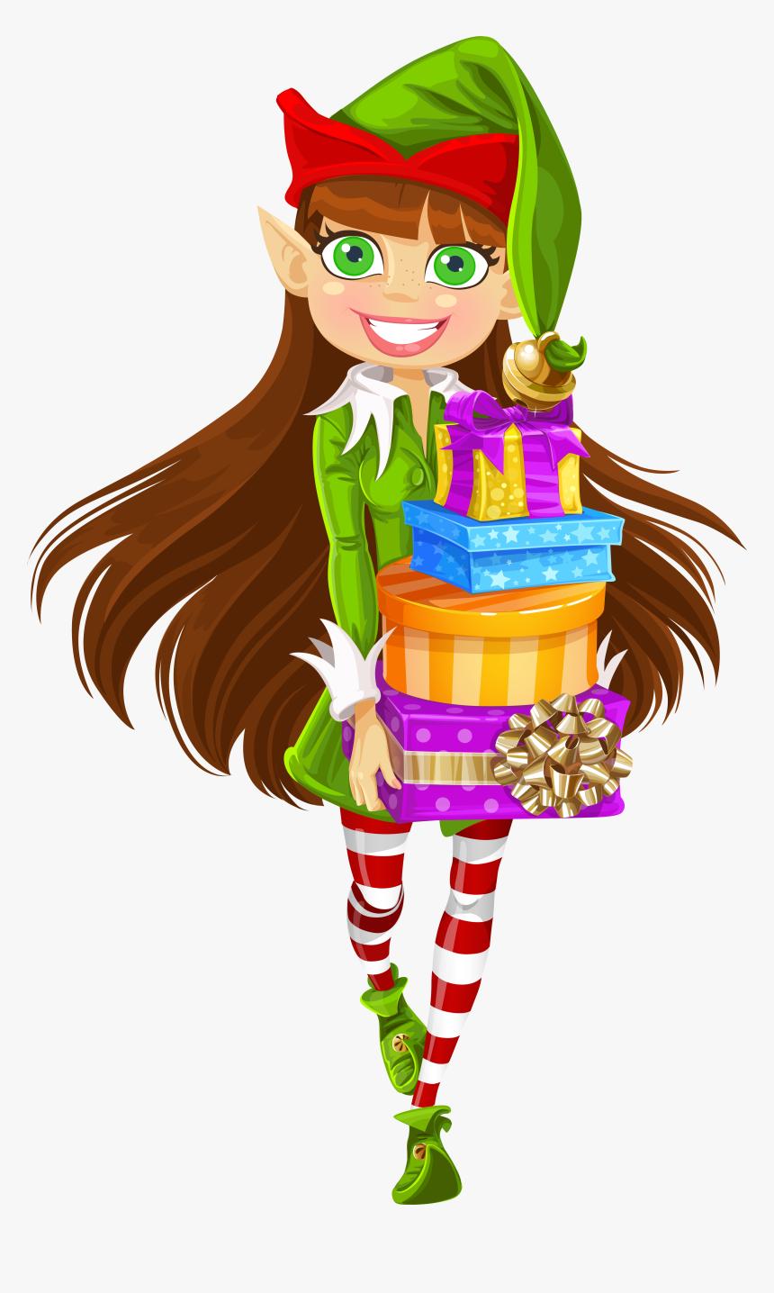 Clip Art Girl Elf Clip Art - Female Christmas Elf Clipart, HD Png Download, Free Download