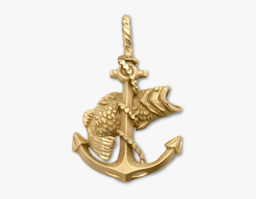 Gold Anchor With Fish, HD Png Download, Free Download