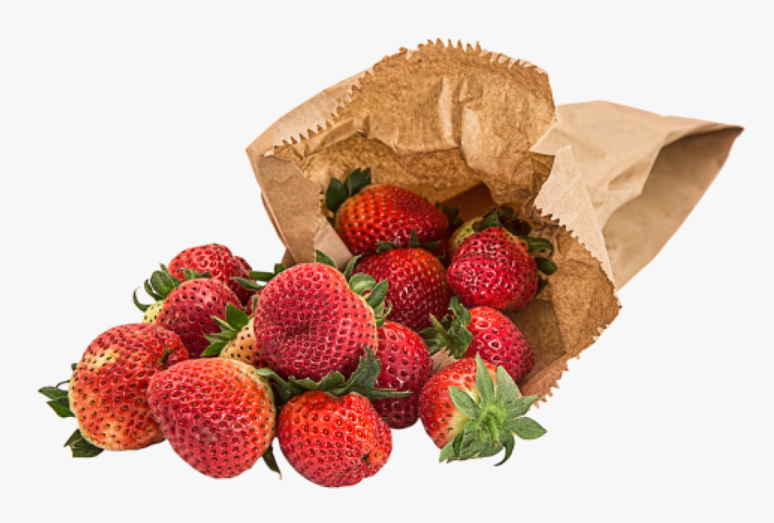 Brown Paper Bag With Strawberries Spilling Out - Pack Strawberries Png, Transparent Png, Free Download