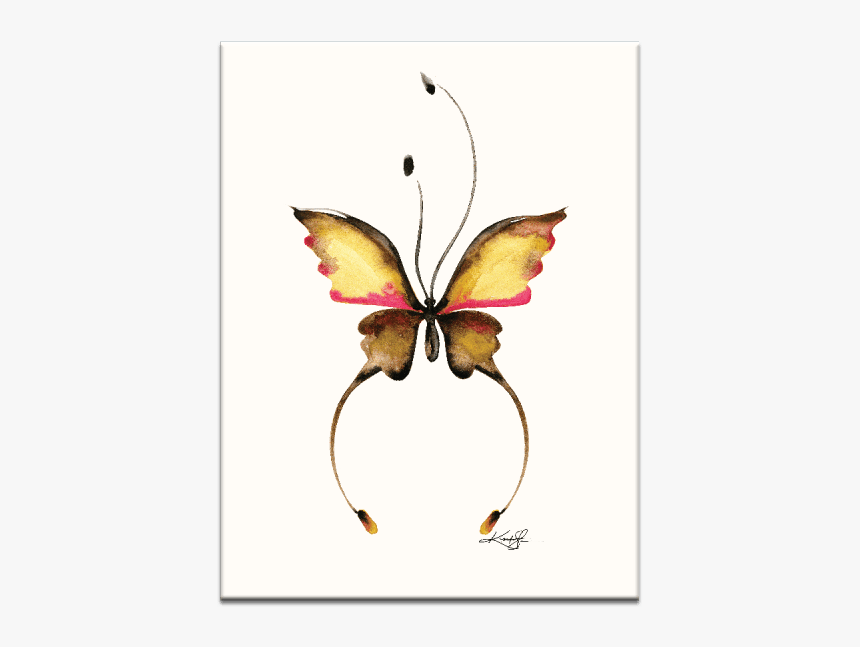 Watercolor Butterfly 14 Wall Art - Abstract Butterfly Drawing, HD Png Download, Free Download