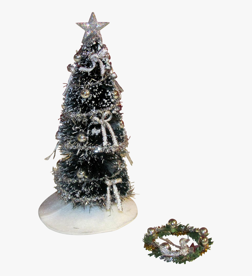 1 Inch Scale Decorated Christmas Tree In Silver Dollhouse - Christmas Tree, HD Png Download, Free Download