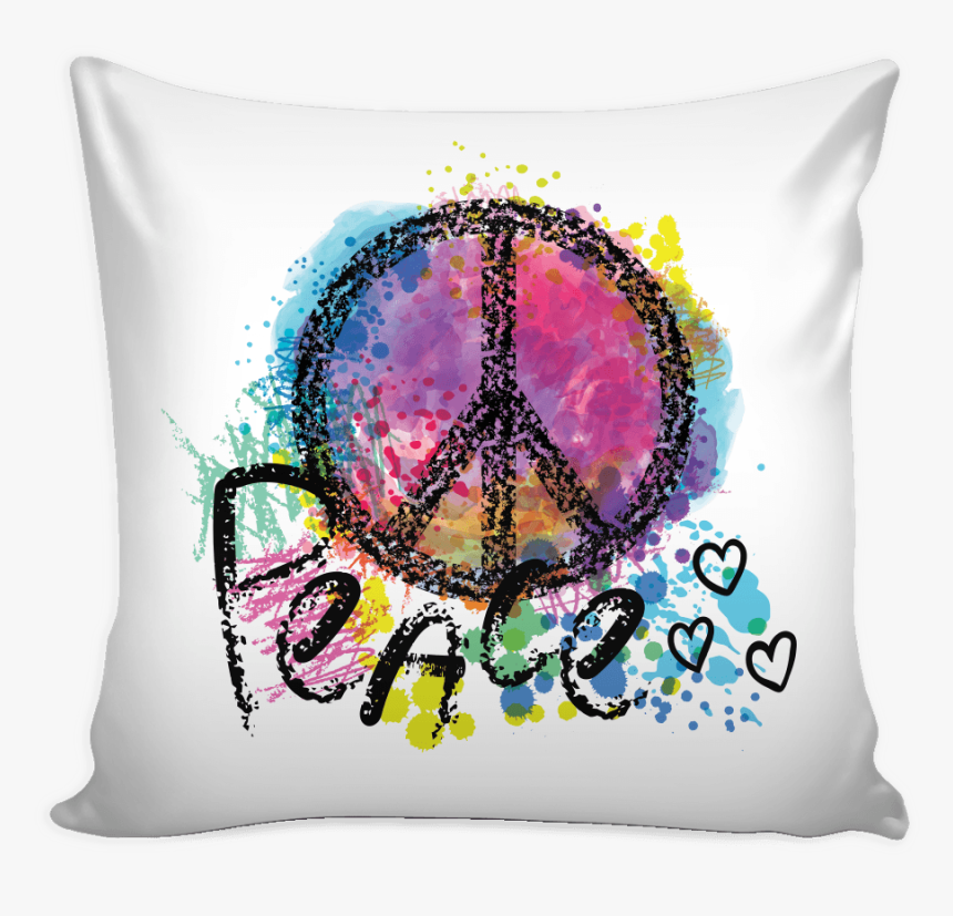 """Multicolor Peace Symbol With Hearts Pillow Cover""""  - Features Of Good Morning, HD Png Download, Free Download"""