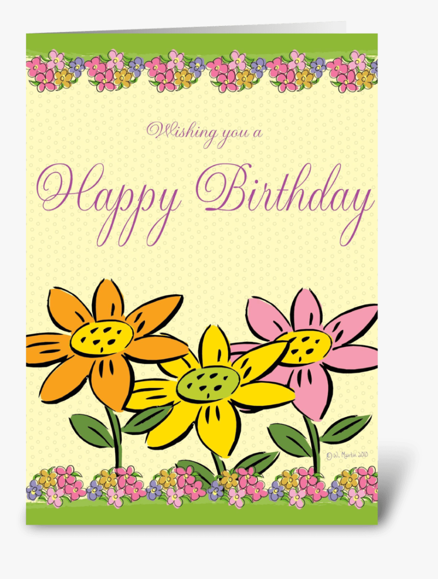 Three Flowers Birthday Card Greeting Card - Greeting Card, HD Png Download, Free Download