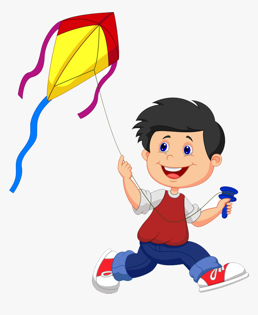 Black And White Stock Cartoon Illustration Small People Fly A Kite Clipart Hd Png Download Kindpng