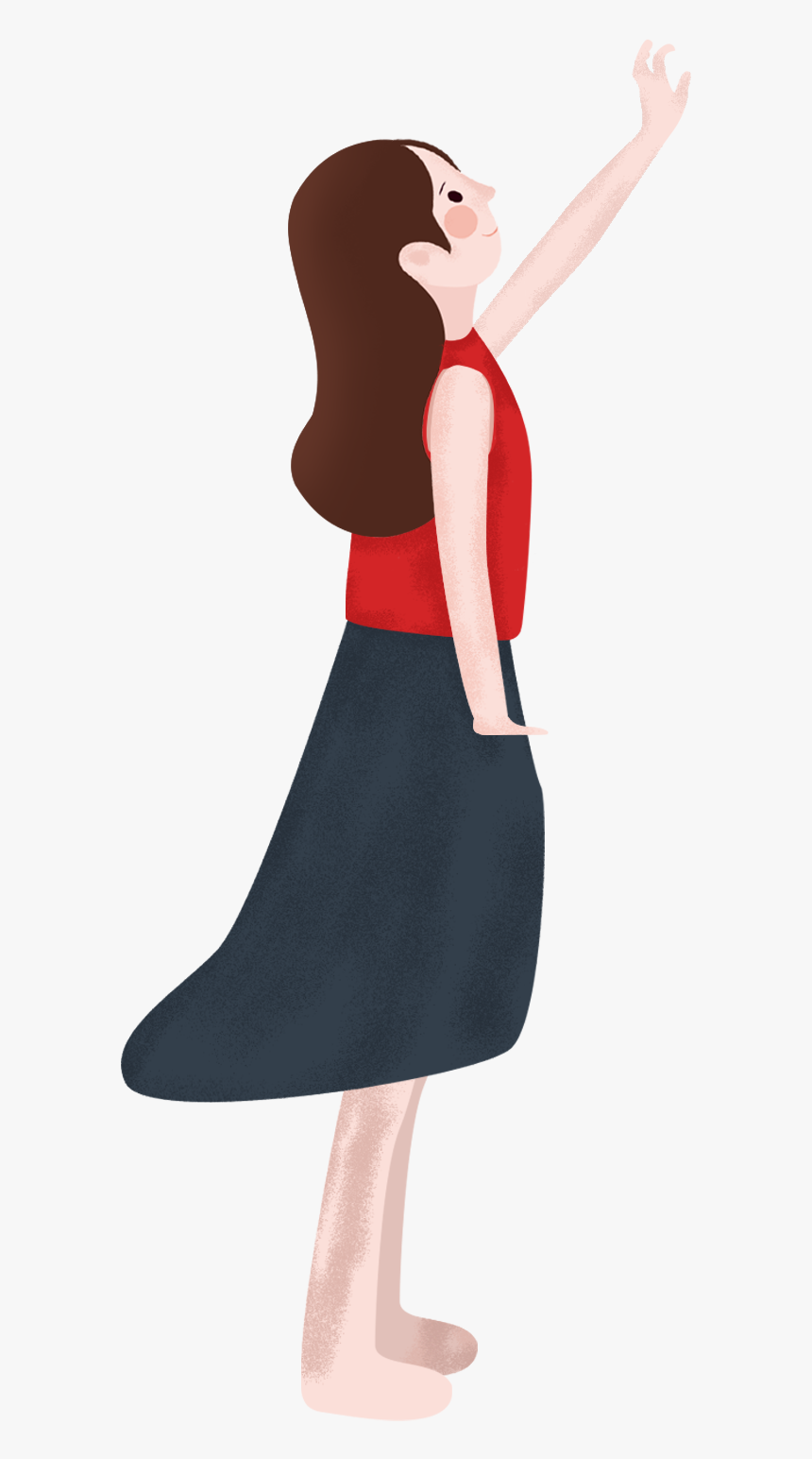 Animated Skirt transparent girl with long hair clipart - pencil skirt, hd
