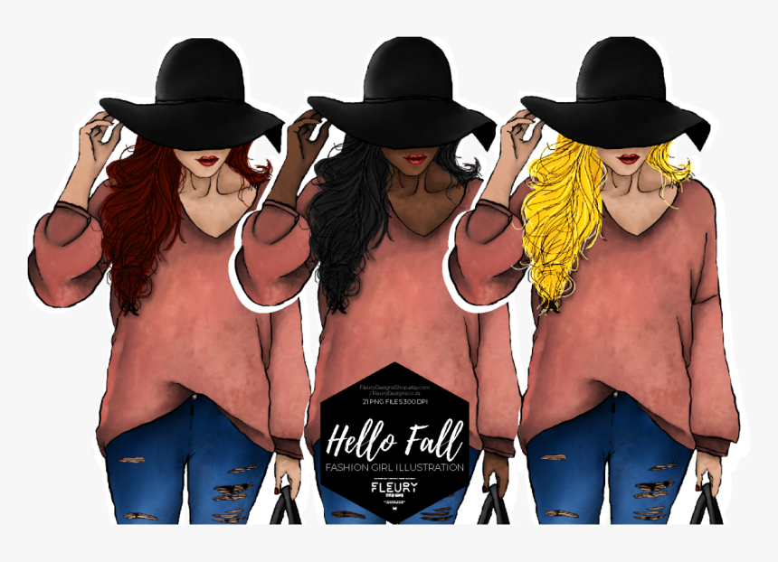 Hello Fall Fashion Girl Collection Example Image - Costume Hat, HD Png Download, Free Download