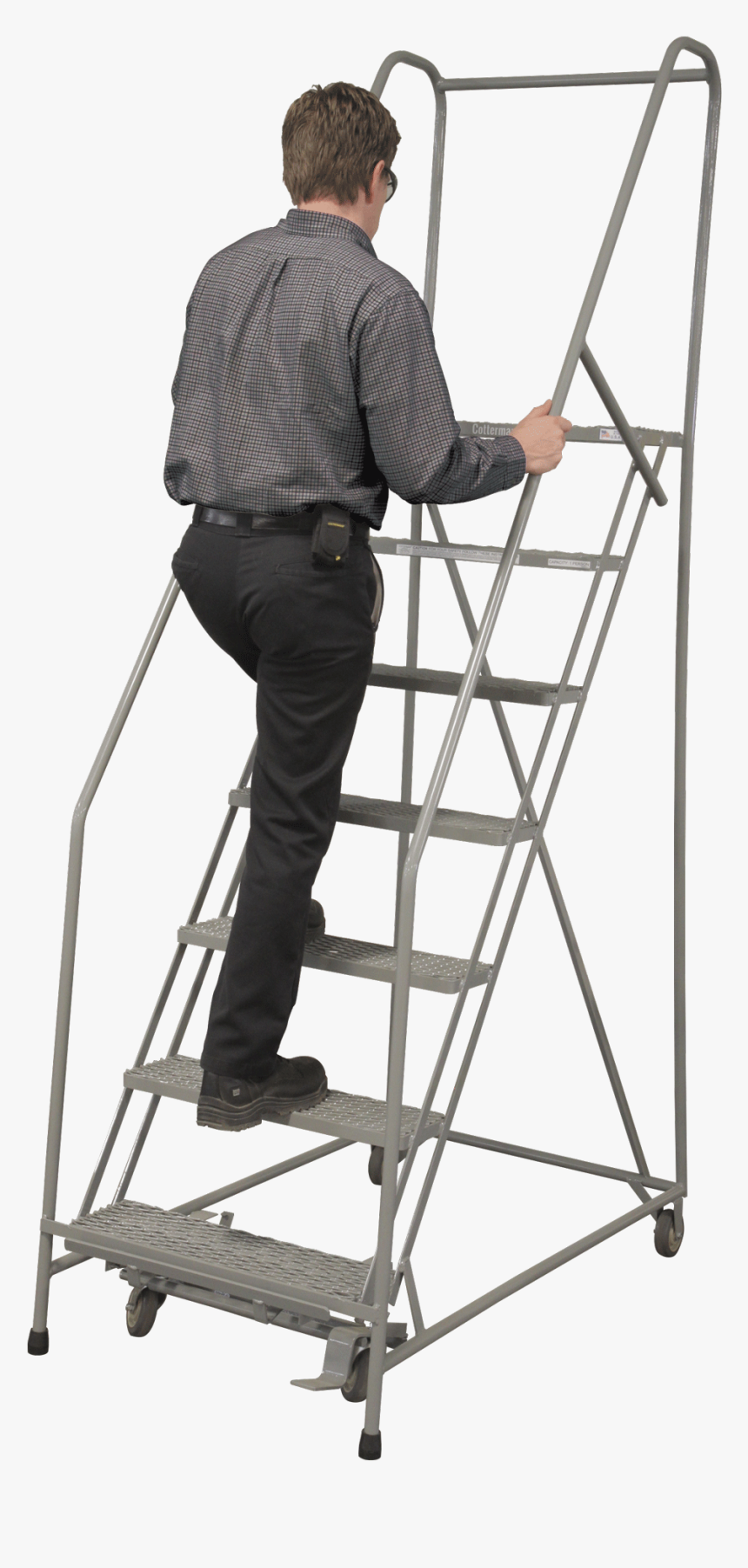 Partially-assembled, Standard Angle Ladders - Cotterman Rolling Ladder, HD Png Download, Free Download