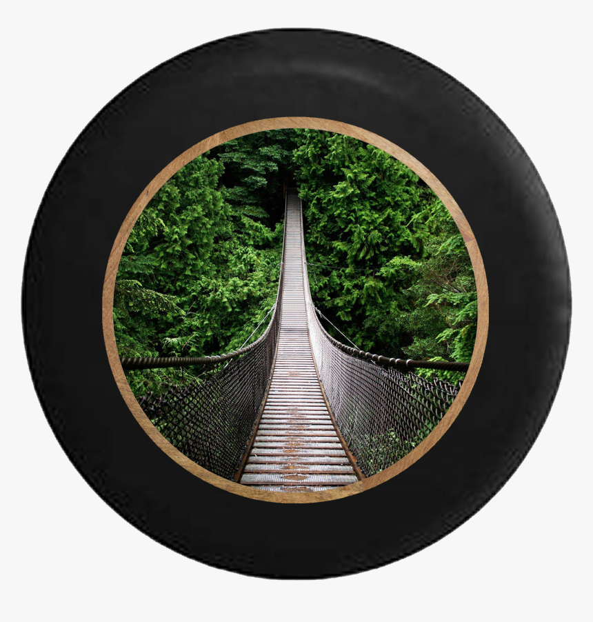 Suspension Bridge Into Jungle Forest Over River Jeep - Mac Rainforest Background Hd, HD Png Download, Free Download