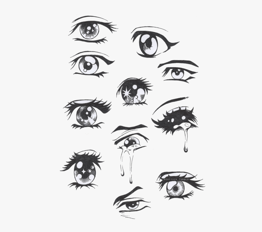 Clip Art Drawing Of Crying Eyes - Sad Anime Eyes Drawing, HD Png Download, Free Download