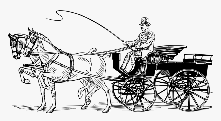 Carriage, Horse, Horse-drawn, Phaeton, Sport, Sporty - Horses And Carriage Cartoon, HD Png Download, Free Download