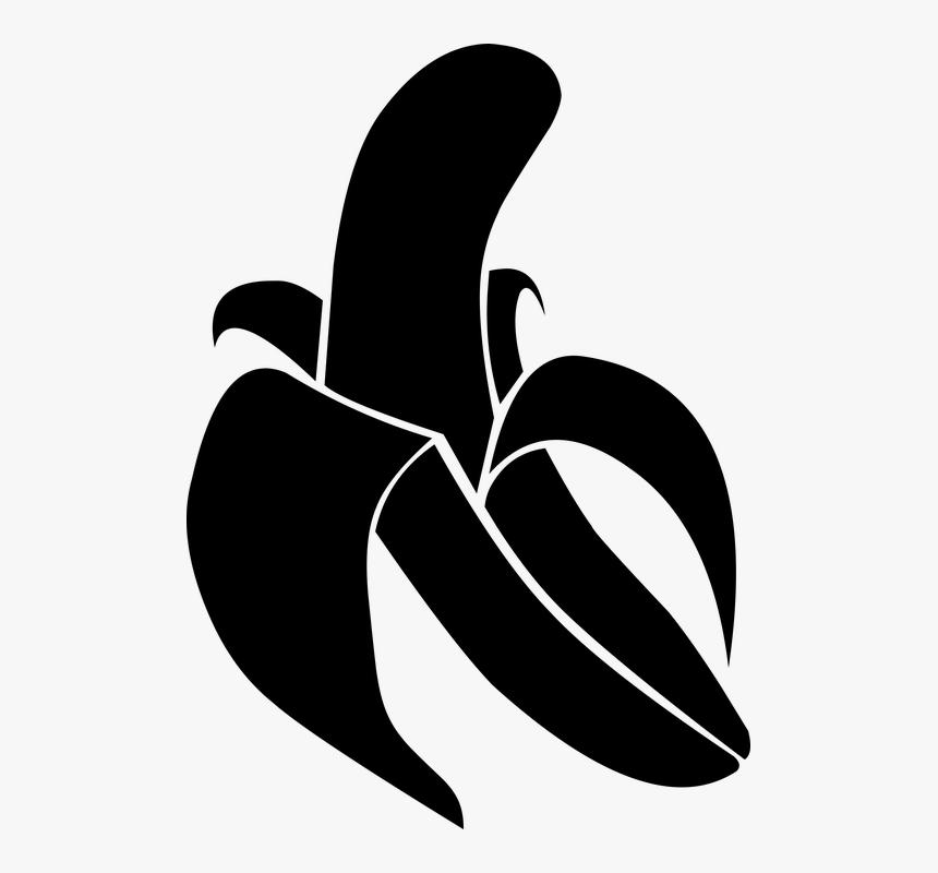 Banano, Negro Banana, Plátano Vector - Banana Vector Black And White, HD Png Download, Free Download