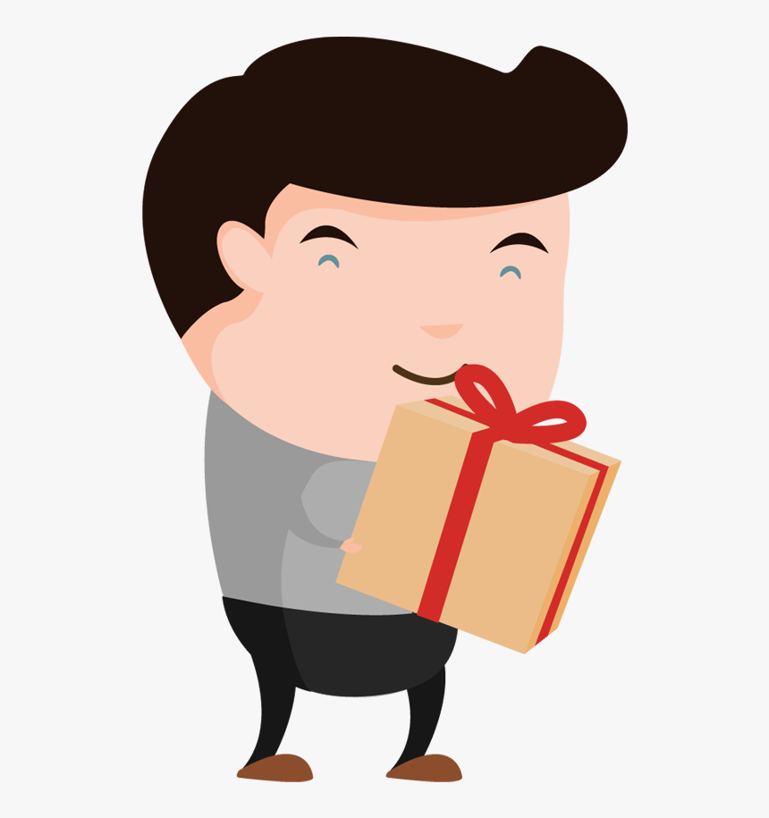 Transparent Guy Pointing Clipart - Man Holding Gift Clipart, HD Png Download, Free Download