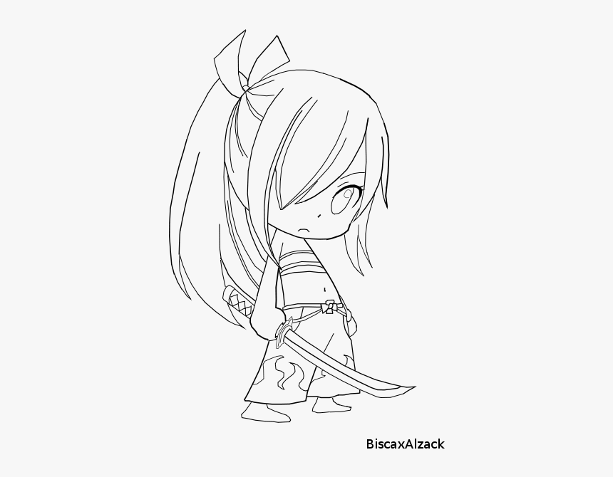 Erza Lineart - Erza Scarlet Chibi Drawing, HD Png Download, Free Download