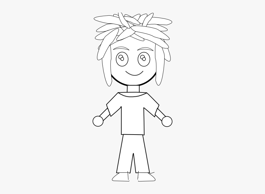 Anime Character Art 32 Black White Line Art 555px - Cartoon, HD Png Download, Free Download