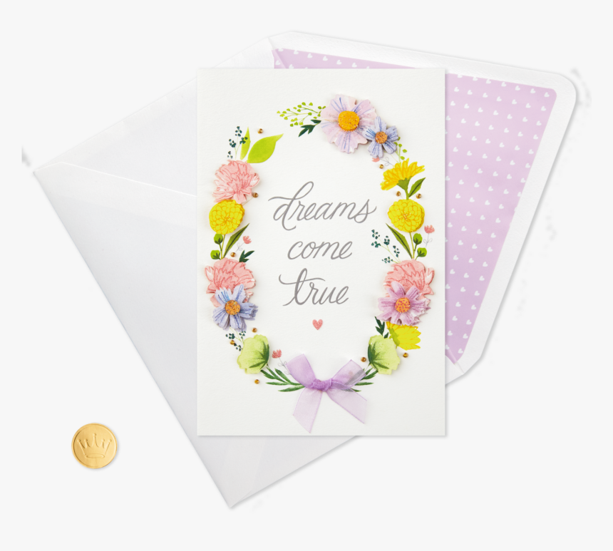 Dreams Come True Floral Wreath Congratulations Card - Greeting Card, HD Png Download, Free Download