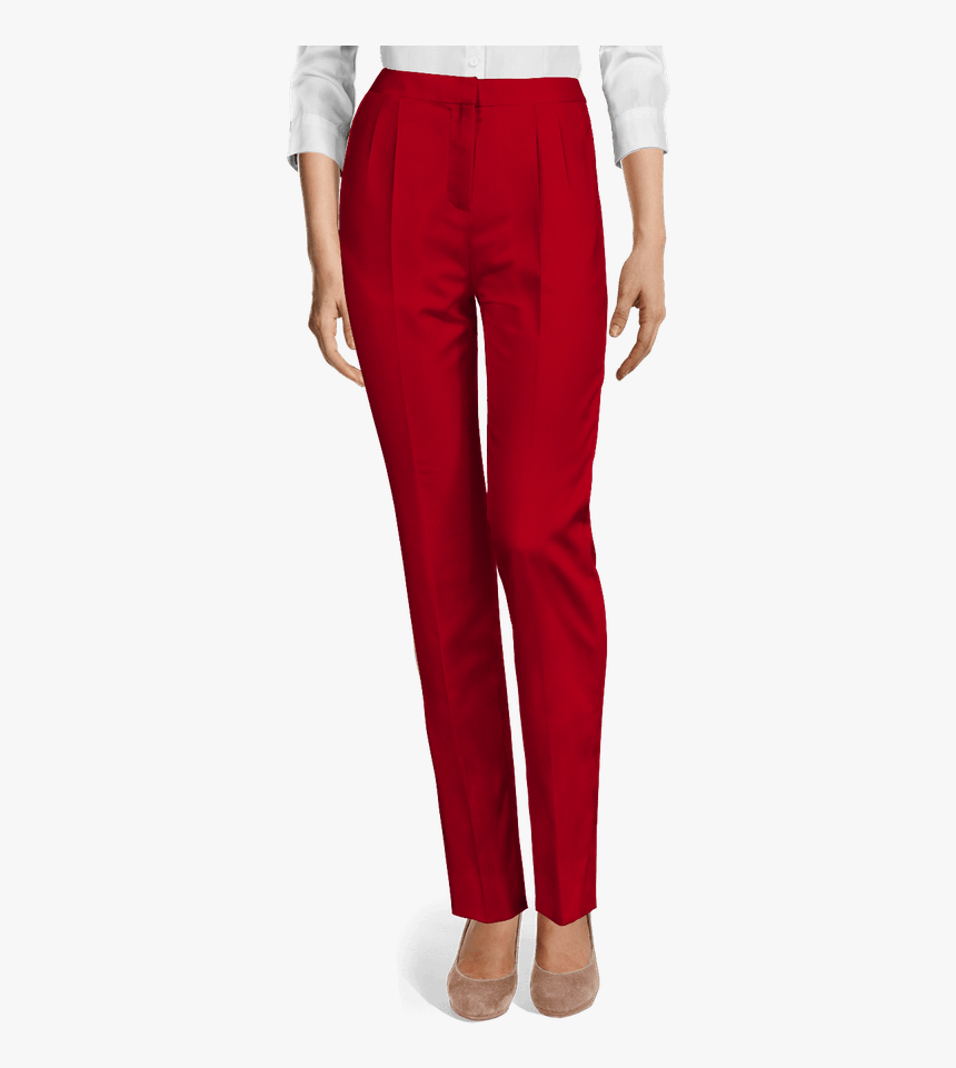 "Red Wool High Waisted Pleated Dress Pants""  	 	 Data-width=""110 - Black Velvet Long Pants, HD Png Download, Free Download"