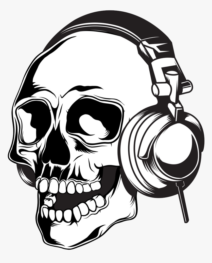 Clip Art Skull Illustration Wearing - Skull With Headphones Clipart, HD Png Download, Free Download
