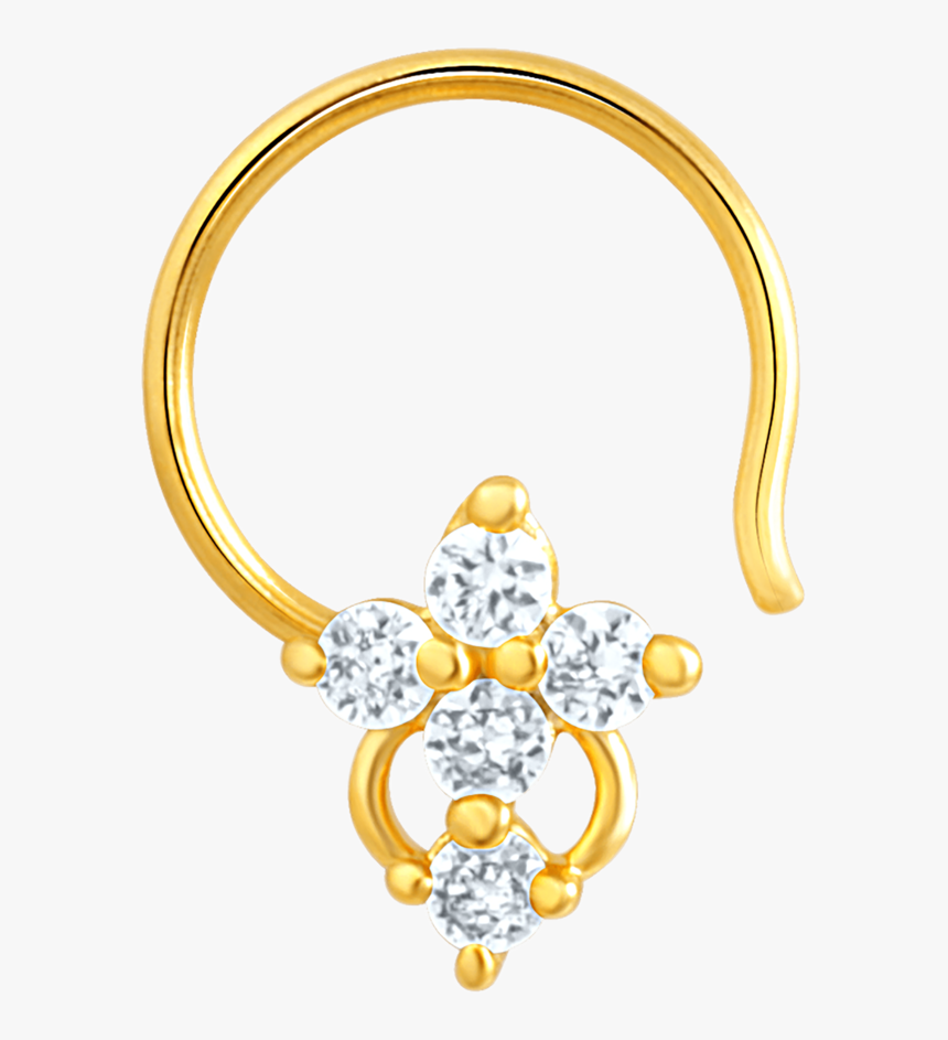 Mahi Gold Plated Symbolic Shine Nose Pin With Cz Stones - Body Jewelry, HD Png Download, Free Download