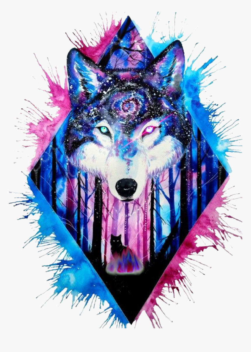 Wolves Clipart Galaxy, Wolves Galaxy Transparent Free - Watercolor Wolf Tattoo, HD Png Download, Free Download