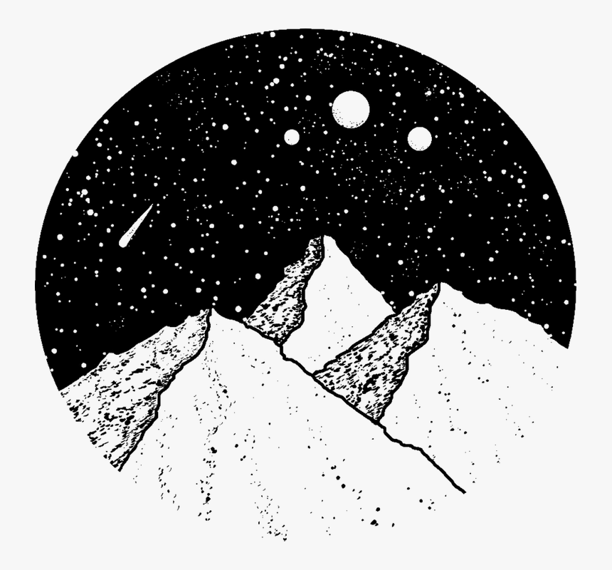 Mountains, 3, Moon, Stars, Night, Sky, Falling, Star - Night Sky Mountain Drawing, HD Png Download, Free Download